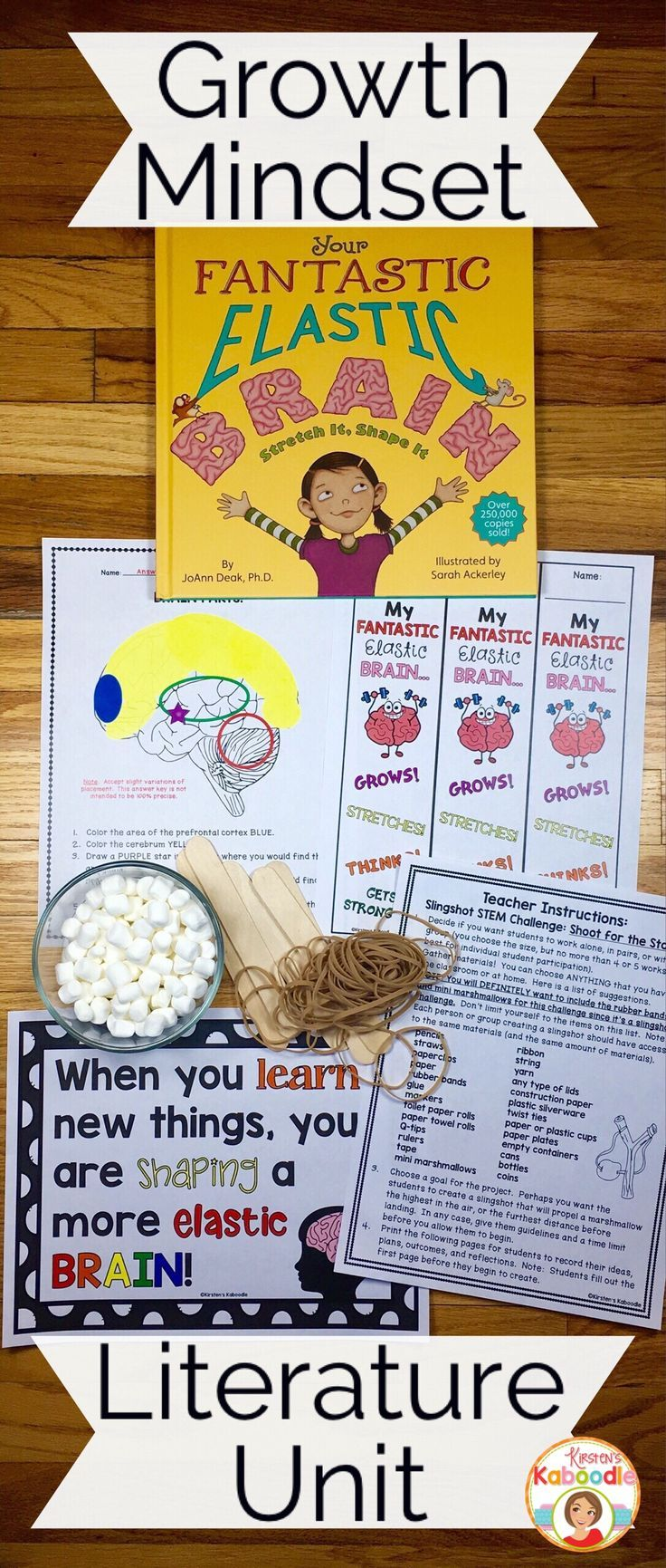 Are you teaching your students about growth mindset? Your Fantastic Elastic Brain by JoAnn Deak is a perfect segue for teaching your students the power of growth mindset. Conceptually, these ideas are perfect for any level, but this literature unit was created for 2nd-6th graders in mind. Infused with reflections, challenges (including a STEM challenge), and opportunities to identify and clarify growth mindset vs fixed mindset, your students are sure to learn and have a great deal of fun!