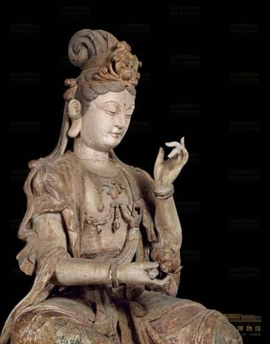 彩绘木雕观音菩萨坐像.宋 (960—1279年)