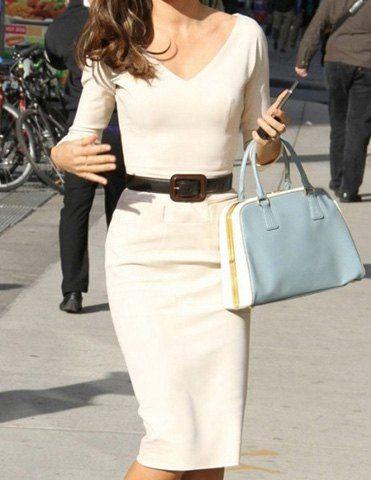 Elegant V-Neck Solid Color 3/4 Sleeve Bodycon White Dress For Women, WHITE, M in Dresses 2014 | DressLily.com