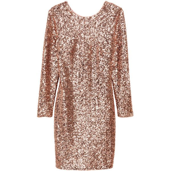 Sequined dress $69.99 ($70) ❤ liked on Polyvore featuring dresses, deep v neck cocktail dress, sequin mesh dress, fitted cocktail dresses, brown sequin dress and sequin cocktail dresses