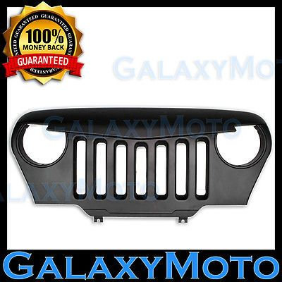97-06 Jeep TJ Wrangler Matte Black Angry Bird Overlay Grille Shell Rubicon 4x4