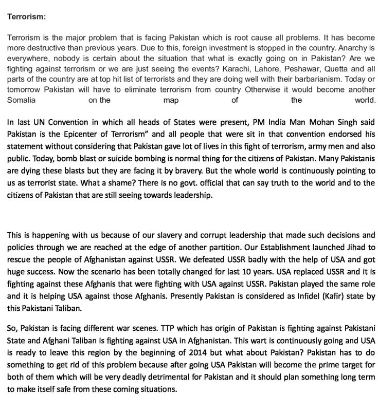 an essay on terrorism in pakistan Since '9/11' pakistan has been at the epicentre of both terrorism and the war   wadhwani r (2011) essay on terrorism in pakistan: its causes, impacts and.