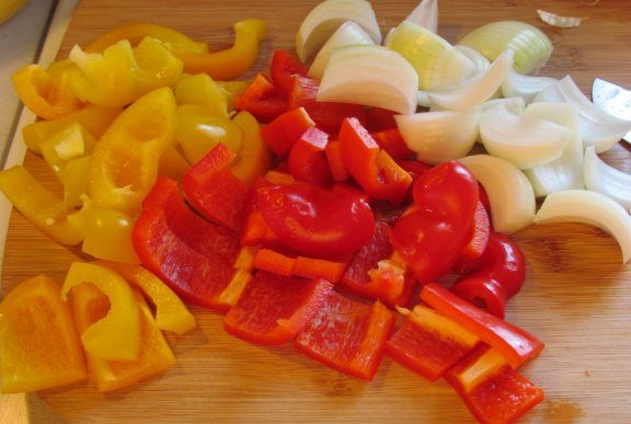 Image result for onions red bell peppers yellow peppers pieces