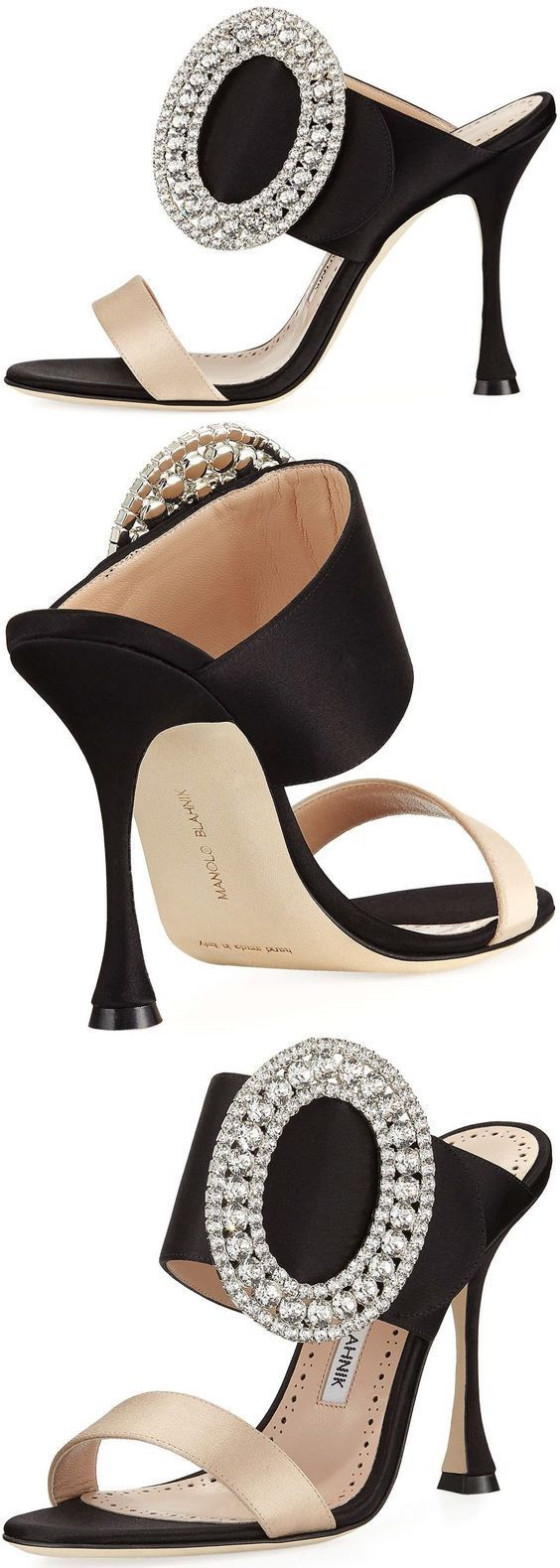 Yule style!! Noel Christmas New Year's Eve!! Party shoes to dance the night away! Black and cream with a glittered oversized buckle! For a Little Black Dress! Manolo Blahnik #manoloblahnikheelsfashion