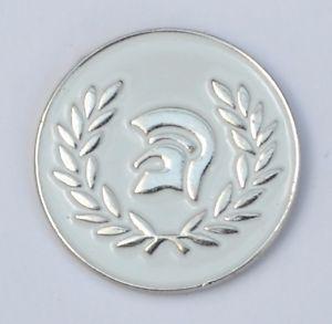 a white trojan helmet ska reggae soul enamel pin badge