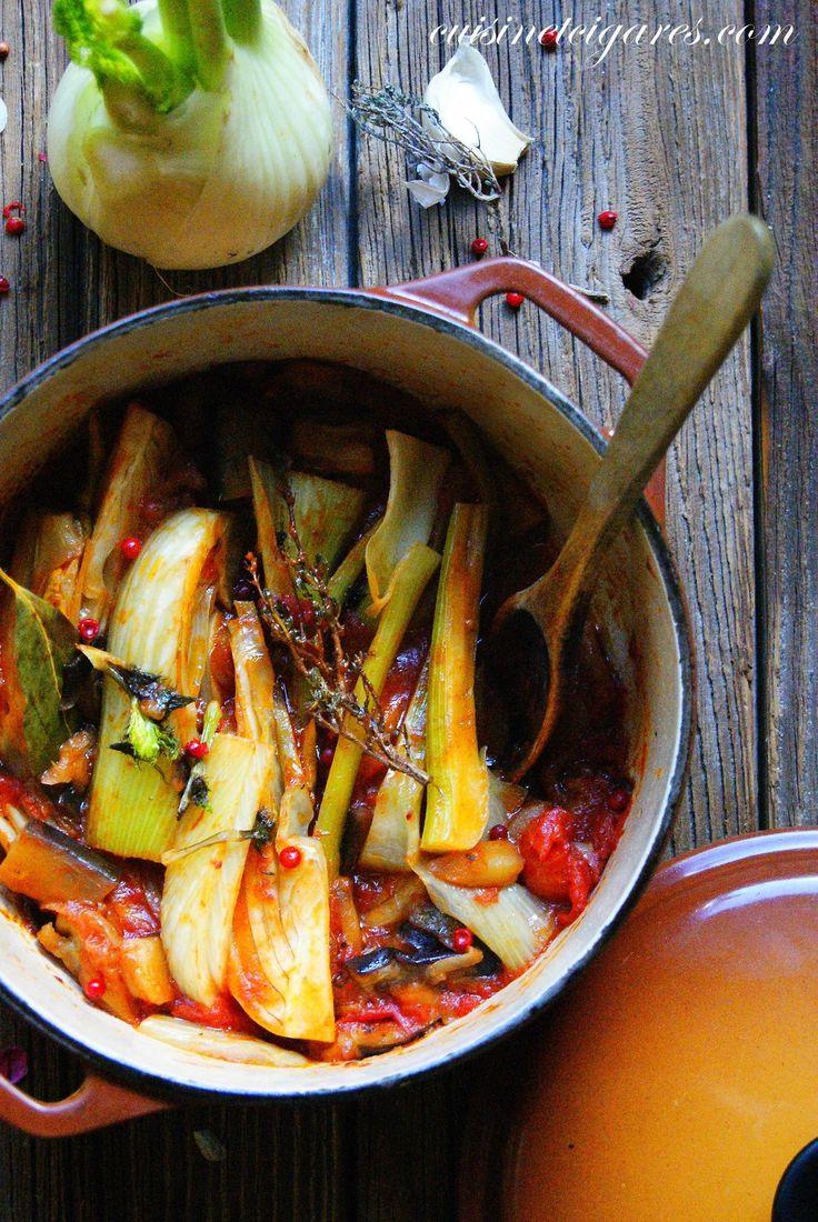 Fenouil braisé à l'aubergine et aux tomates