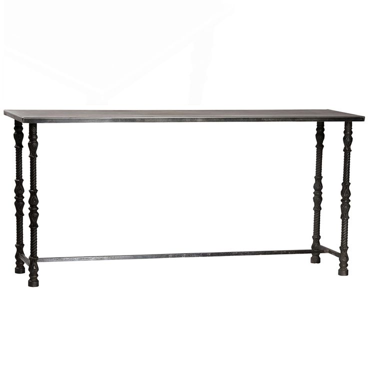 "Industrial chic at its finest. Hand crafted from steel. Sheet steel top with cast iron decorative legs. Welding marks and distress on tops. <BR><BR> • 71""L x 20""D x 33""H<BR> • Gunmetal Finish<BR> • Iron<BR> • Coasters, placemats, and tablecloths must be used to protect the item from marking.<BR>  <BR><BR><strong>Return Policy</strong>  Please make sure to review all photos and ask questions before purchasing. This item is not eligible for returns or exchanges. <a href=/no-returns ta..."