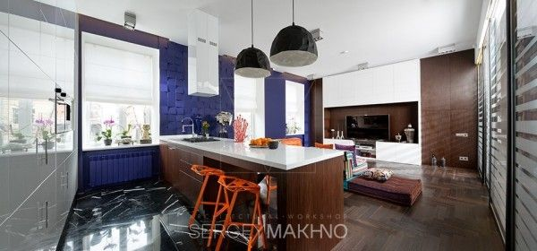 3 whimsical apartment interiors from sergey makhno nội thất pinterest blue accent walls whimsical and apartments