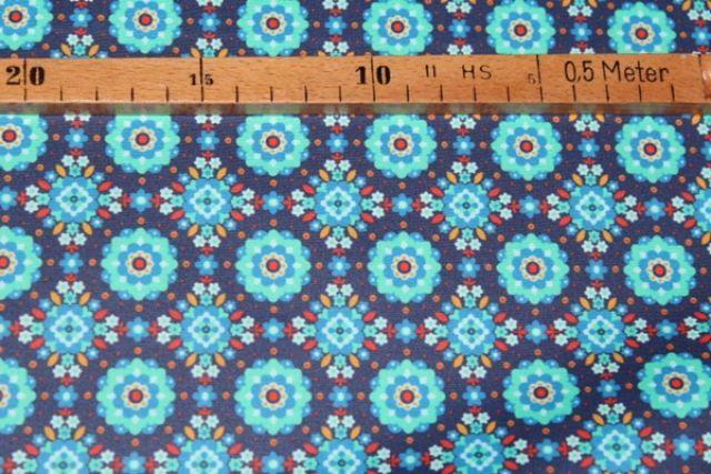 beschichtete Baumwolle - Hilco Hilde Mandala türkis/blau FQ-Stoffe, Schnittmuster & Nähzubehör