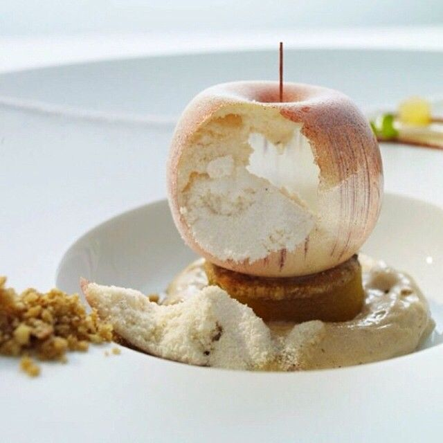 #TBT A sugar apple filled with pure and intense apple sorbet on top of hazelnut cream and hazelnut cookie by chef Thomas Buhner of restaurant La Vie from Germany #TheArtOfPlating