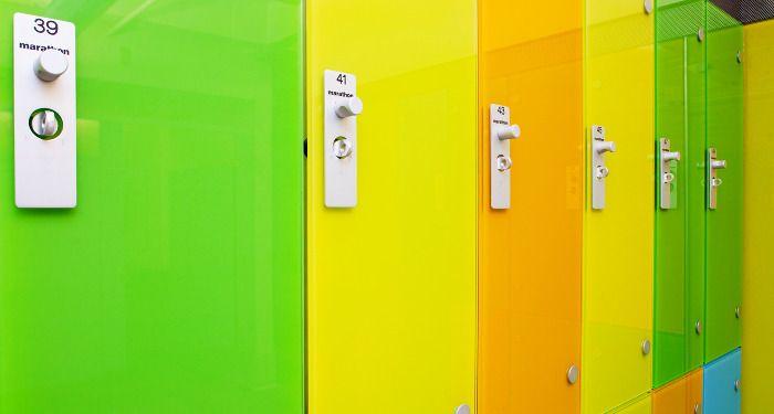 Carscadden Stokes McDonald Architects RENFREW POOL aquatic architecture colourful glass lockers