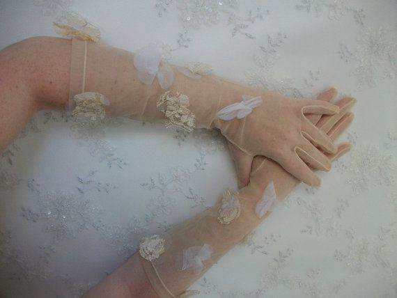 Bridal Tulle Gloves Vintage Veiling Gloves by DesignByIrenne