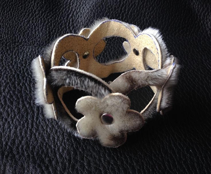 Sealskin Bracelet with Flowers designed and created by Lisa Chrestman Adams in Barrow, Alaska 7/2014