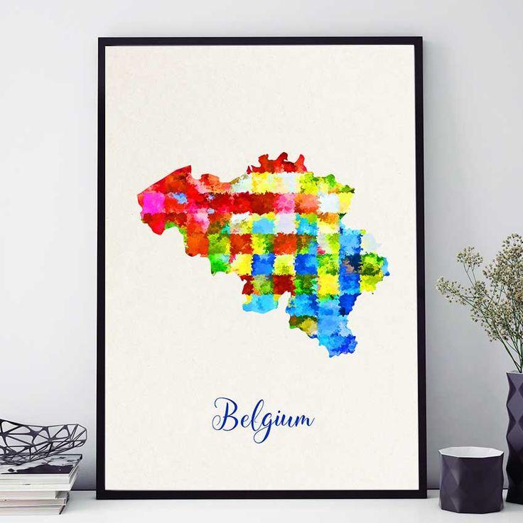 Belgium Map Print, Belgique Map, Belgian Wall Art, Watercolor Print, Map Poster, Belgium Home Decor (712) by PointDot on Etsy