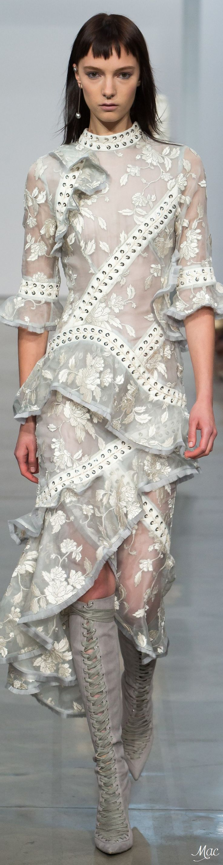 Spring 2017 Ready-to-Wear Zimmermann ~ Prints and ruffles with a bit of edge....Corset laces~