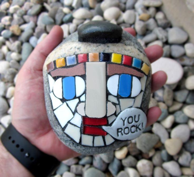 you rock! mosaic on stone