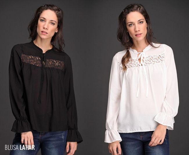 La Blusa Lahar tiene detalles de encaje y mangas con ajuste elastizado. Su cuello mao con lazo la convierte en un #must de temporada. ¿En qué color la elegirías?