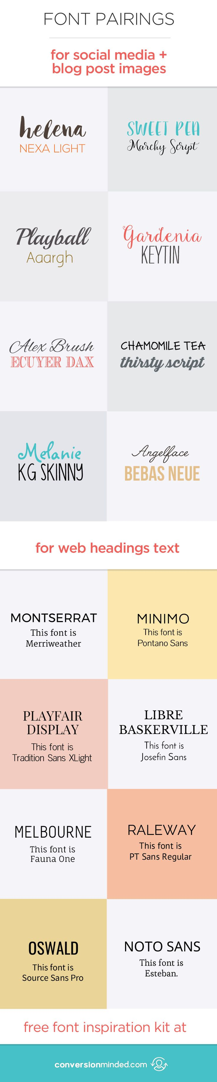 Font Pairings for the Web, Social Media and Blog Images! Plus, a FREE downloadable font inspiration kit to experiment with! Click through to see all the fonts!