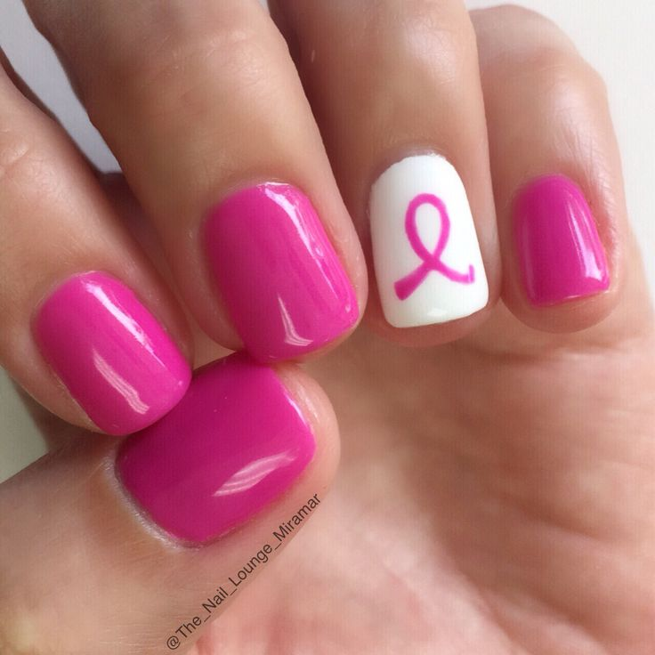 Pink ribbon October breast cancer awareness nail art design