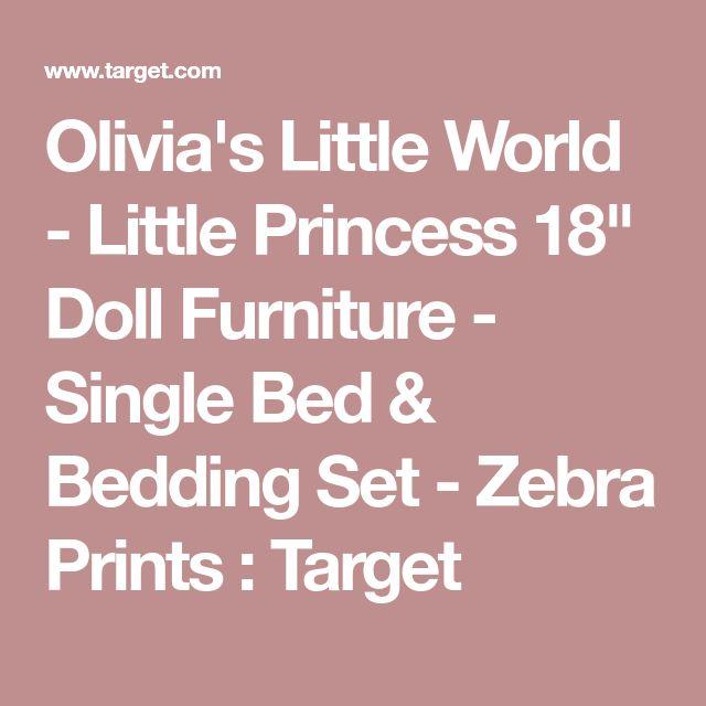 """Olivia's Little World - Little Princess 18"""" Doll Furniture - Single Bed & Bedding Set - Zebra Prints : Target"""