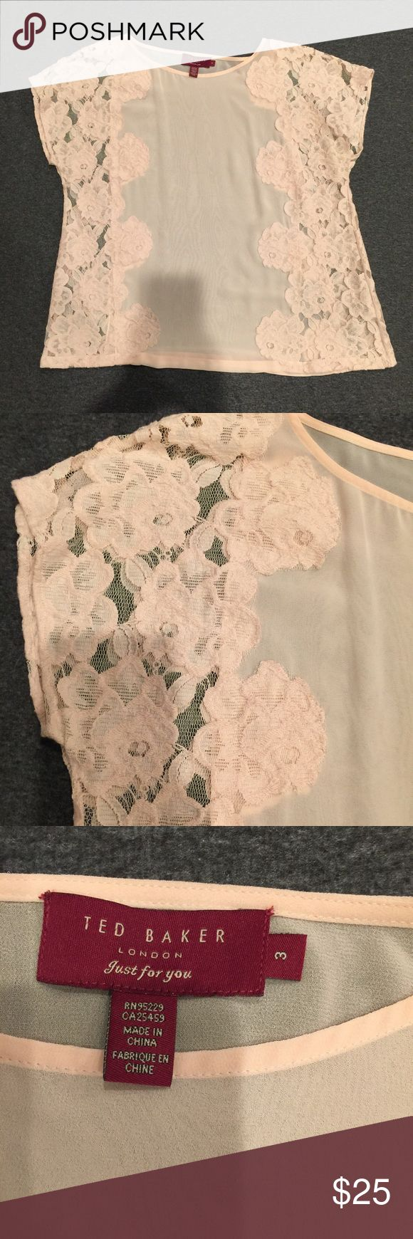 Ted Baker floral lace blouse Light pink Ted Baker floral blouse (like new) Baker by Ted Baker Tops Blouses