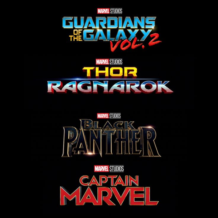 Official Logos for Guardians of the Galaxy Vol.2, Thor: Ragnarok, Black Panther, and Captain Marvel.