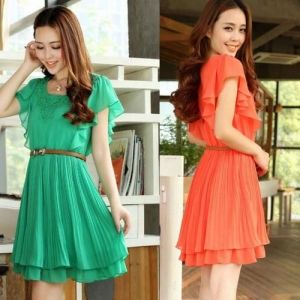 $8.65    Trendy Elegant Flouncing Pleeeted Belt Short Sleeve Chiffon Dress Wear For Hot Women