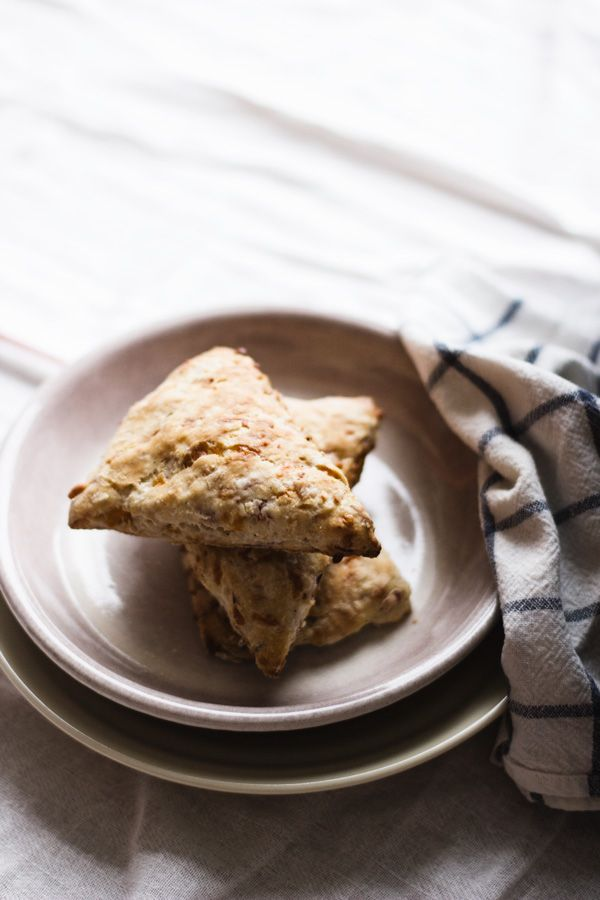 Ham and cheese scones |  Light and flaky, this savory scone is great on it's own for breakfast! |hungrybrownie.com|  Full recipe