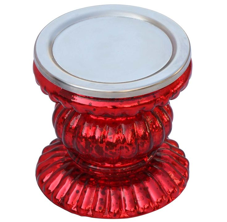"""Urban Red – 4"""" Pillar Candle Holder - Handmade Ribbed Glass Red Candle Stand - Home / Party Decorations - Buy in Bulk Wholesale"""