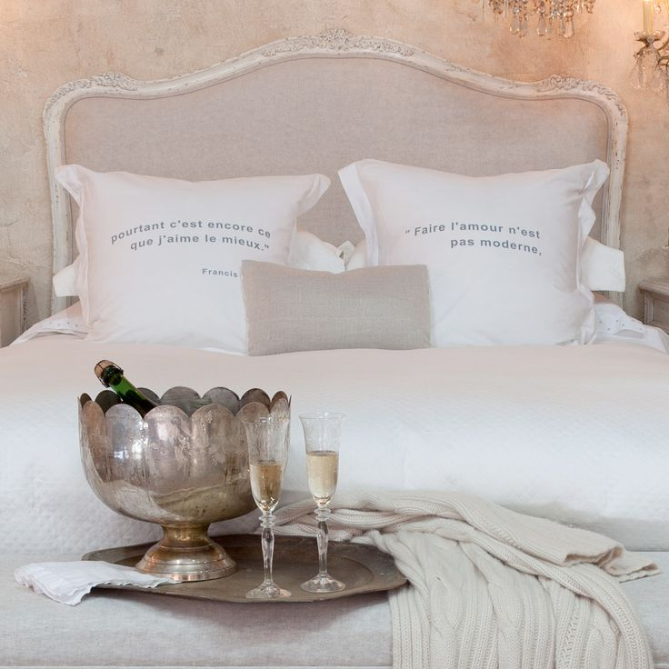 Sophia French Country Antique White Louis Xv Upholstered Queen Headboard I Ve Always Wanted To Have Small Chandeliers On Each Side Of The Bed Instead
