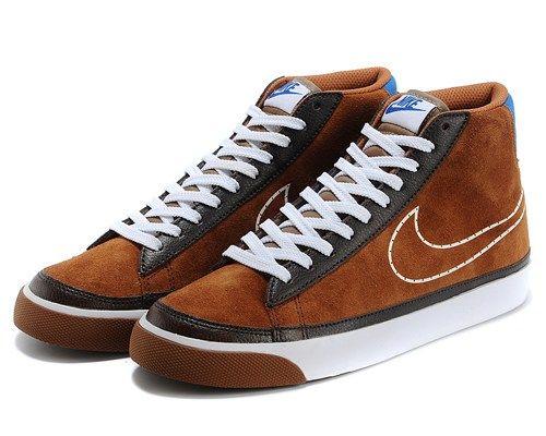 Cheap 371761-806 Nike Blazer MID suede brown white men shoes