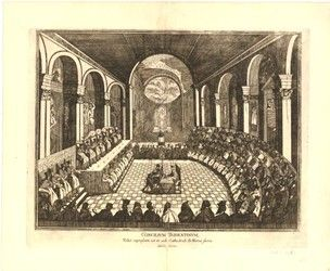 Council of Trent in full session; plate from Patin's 'Tabellae selectae ac explicatae' (Padua, Ex Typographia Seminarii, 1691). c.1691 Engraving