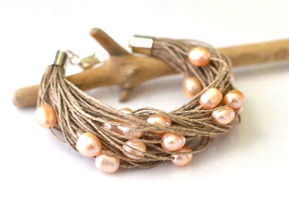 Cream Pearl Bracelet Peachy Pearl Linen Bracelet Beadwork Bracelet Bridal Jewelry Champagne Wedding Bracelet on Etsy, $32.86 AUD