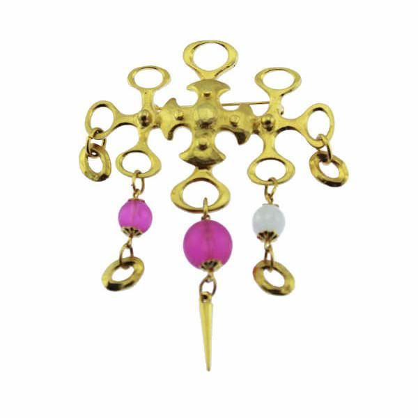 Large Abstract Gold Dangle Brooch