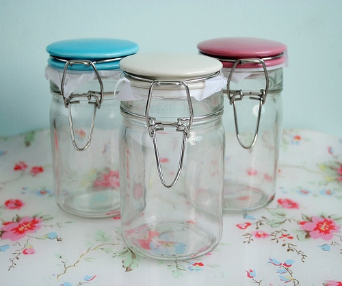 Small kitchen storage jars for the open faced upper cabinets for things like sugar, salt, spices, etc.