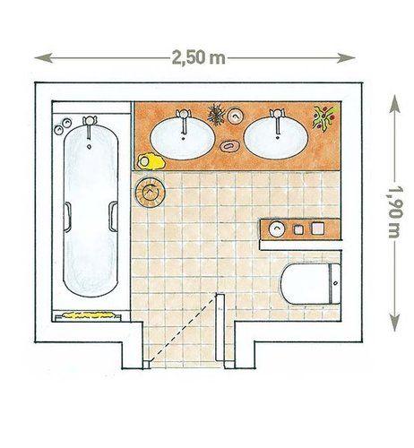 Plano: Un baño de planta cuadrada