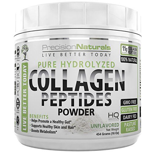 Collagen Protein Powder Peptides Bovine Premium Hydrolyzed Supplement  Non GMO Grass Fed Pasture Raised Paleo Friendly Vital for Perfect Health. Great For Skin and Hair Easy to Mix Gluten Free 16oz