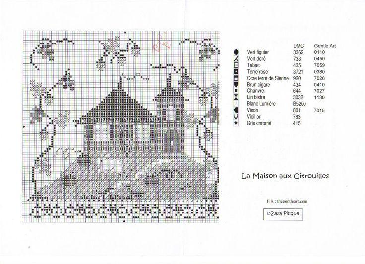 La maison aux citrouilles grille voir ouvrage brod - Maison point de croix ...