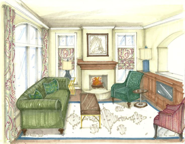 Perspetive of a living room shading drawing learn for Learn interior design