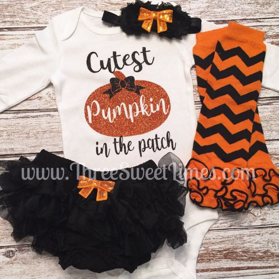Baby Girl Halloween Outfit Cutest Pumpkin In The Patch First Halloween Little…