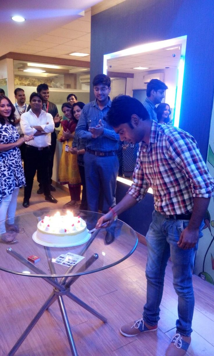 Time for celebration at the office. A one big family of AnimDezire celebrating the #birthday of Director Mr. Nishant Jain.
