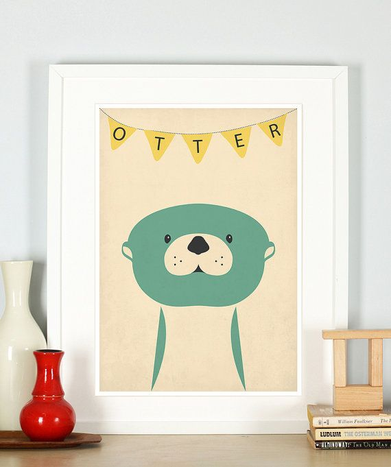 Retro poster otter vintage art print nursery picture by EmuDesigns, $15.95