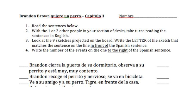 Activities for chapters 3, 4, 5 of 'Brandon Brown quiere un perro', shared by Cynthia Hitz