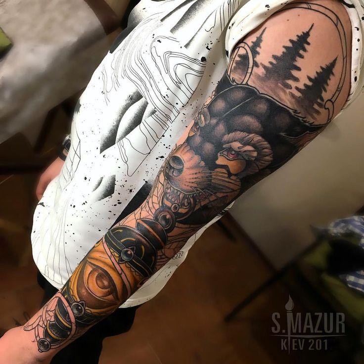 "410 gilla-markeringar, 6 kommentarer - MAZUR SERGEY   Tattoo Artist (@mazurtattoo) på Instagram: ""Если набить рукав,то у вас будет большая татуировка 🙌🏻 В процессе 👌🏻 #tattoo #tattoos #tattoogirls…"""