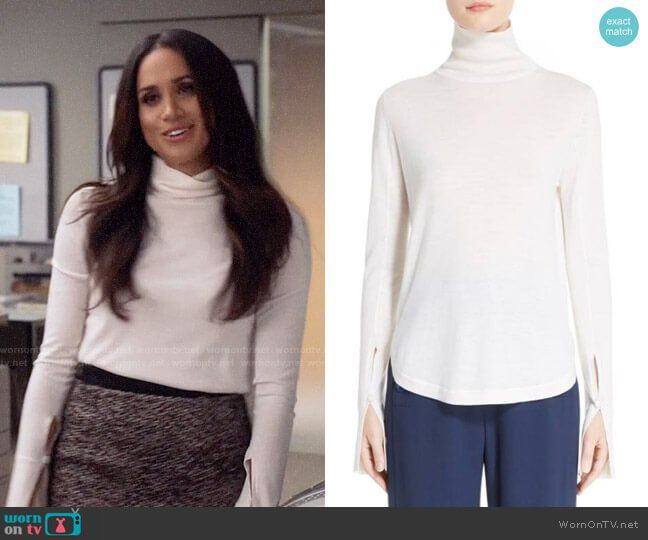 67ac6f1234 Rachel s (Meghan Markle) white turtleneck sweater on Suits. Outfit Details   https