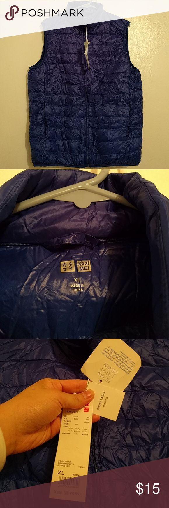 Ultra light navy blue packable down vest This is not Uniqlo brand. Looks like it but it is not. Thinner than the real thing but same material. Comes with the packable bag.  Tagged Uniqlo for exposure. This is not Uniqlo. Uniqlo Jackets & Coats Vests
