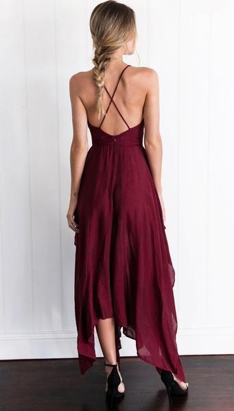 V-neck Irregular sexy shoulder-straps midi dress