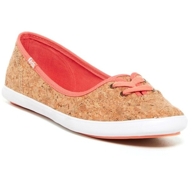 Keds Teacup Cork Sneaker ($30) ❤ liked on Polyvore featuring shoes, sneakers, coral, lace up sneakers, round toe sneakers, laced up shoes, lace up shoes и keds shoes