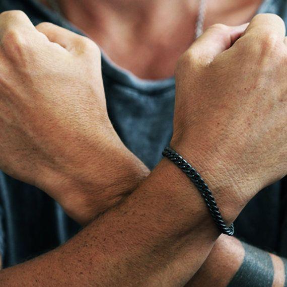 Matte Black Bracelet Black Chain Bracelets by carpediemjewellery