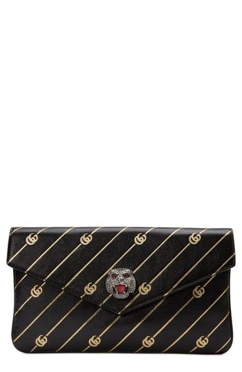 463226df3bd Gucci Broadway GG Archive-P Leather Envelope Clutch